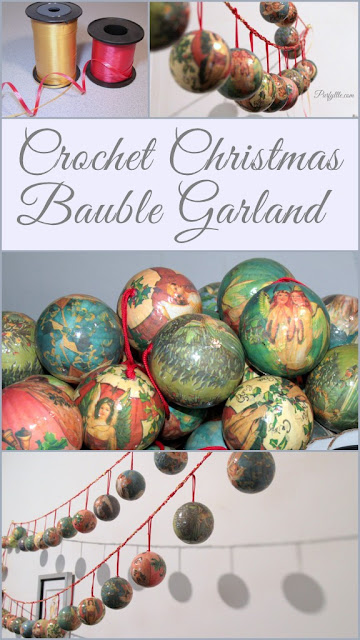 Crochet Christmas bauble garland keeps baubles tidy