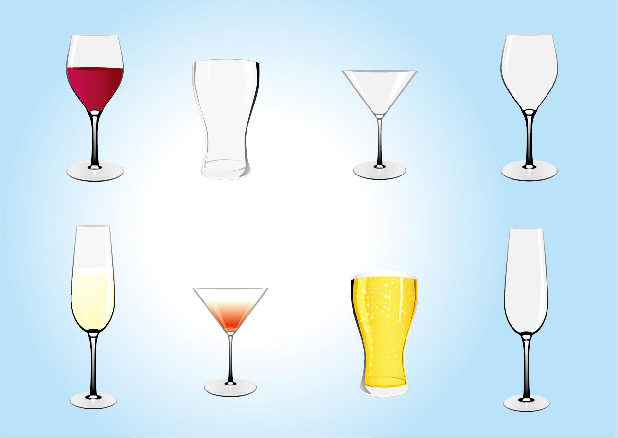 カクテルグラスのクリップアート glass silhouette illustrations イラスト素材