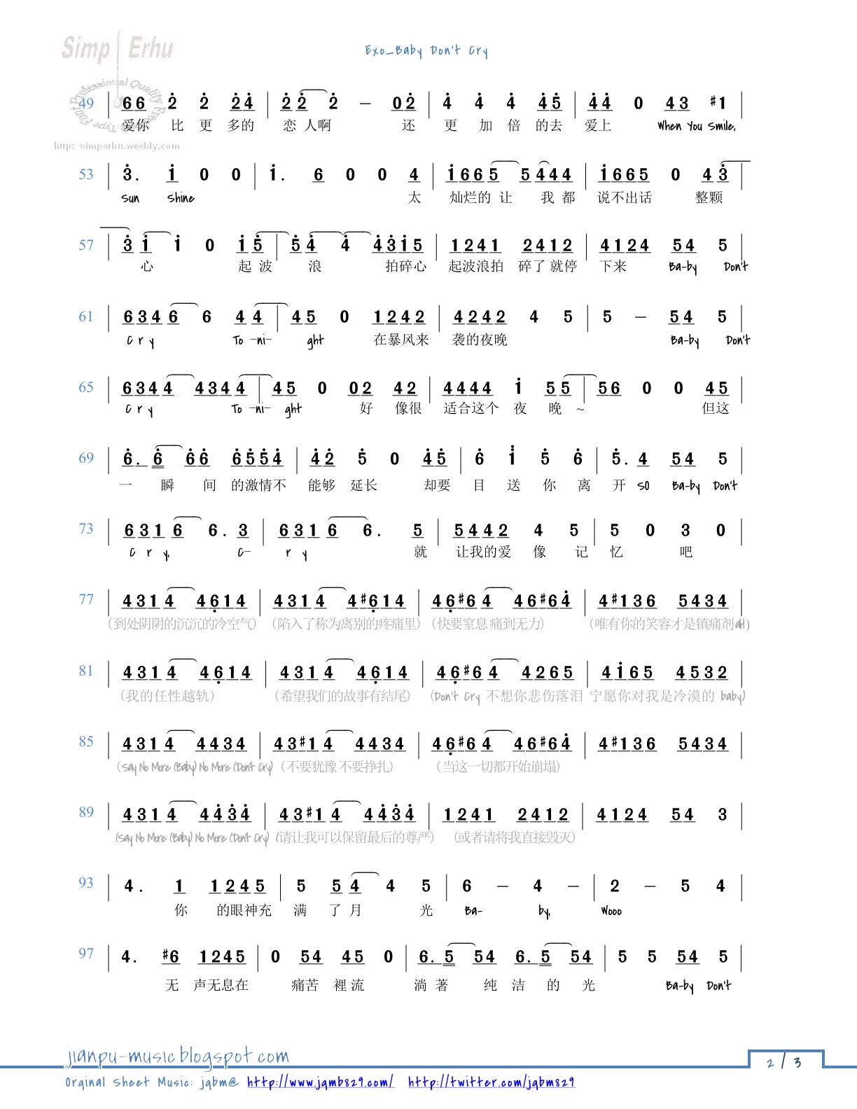 Numbered Scores (JianPu 简谱)