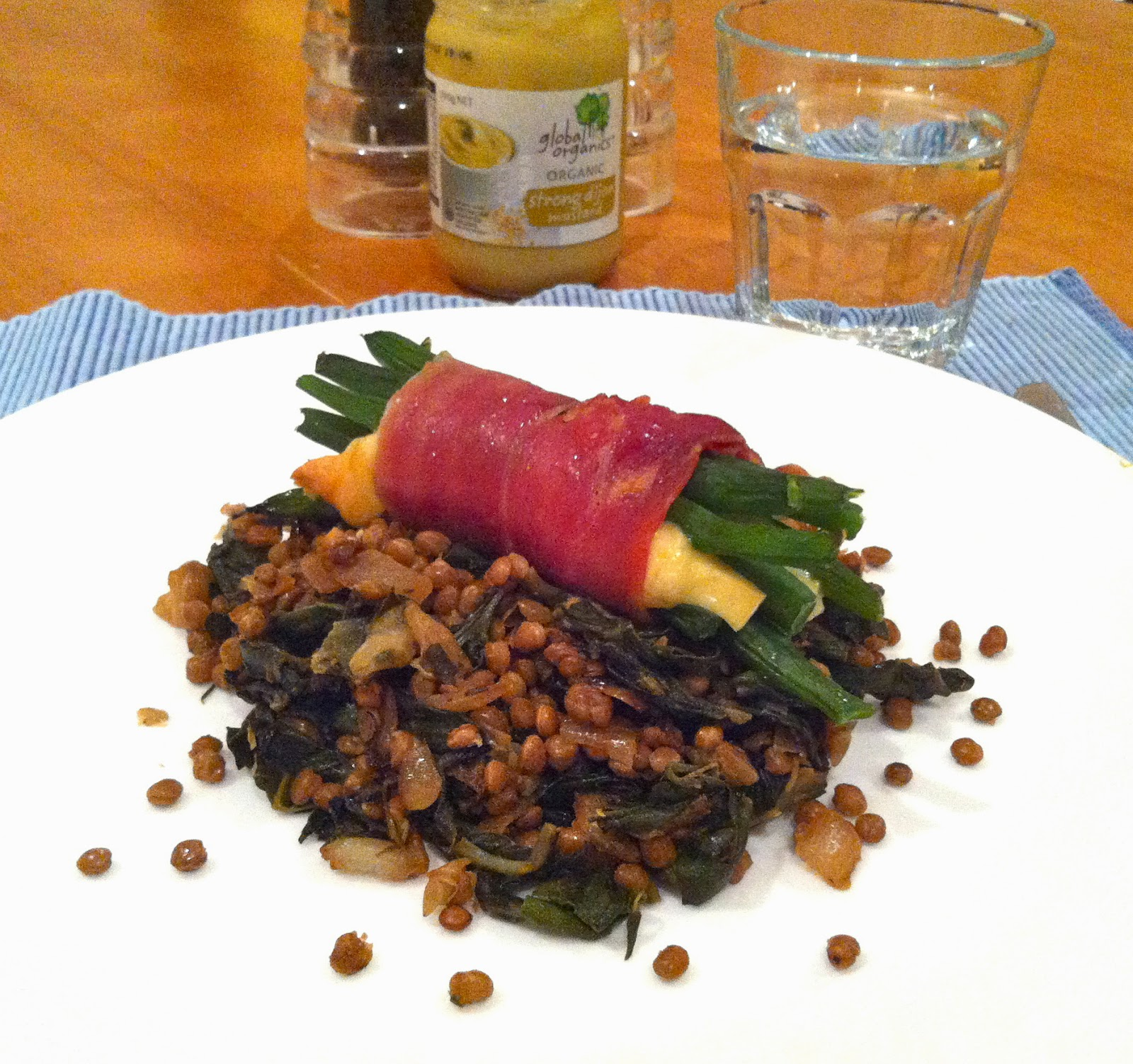 Prosciutto-wrapped green beans & pecorino over lentils with swiss chard & mustard