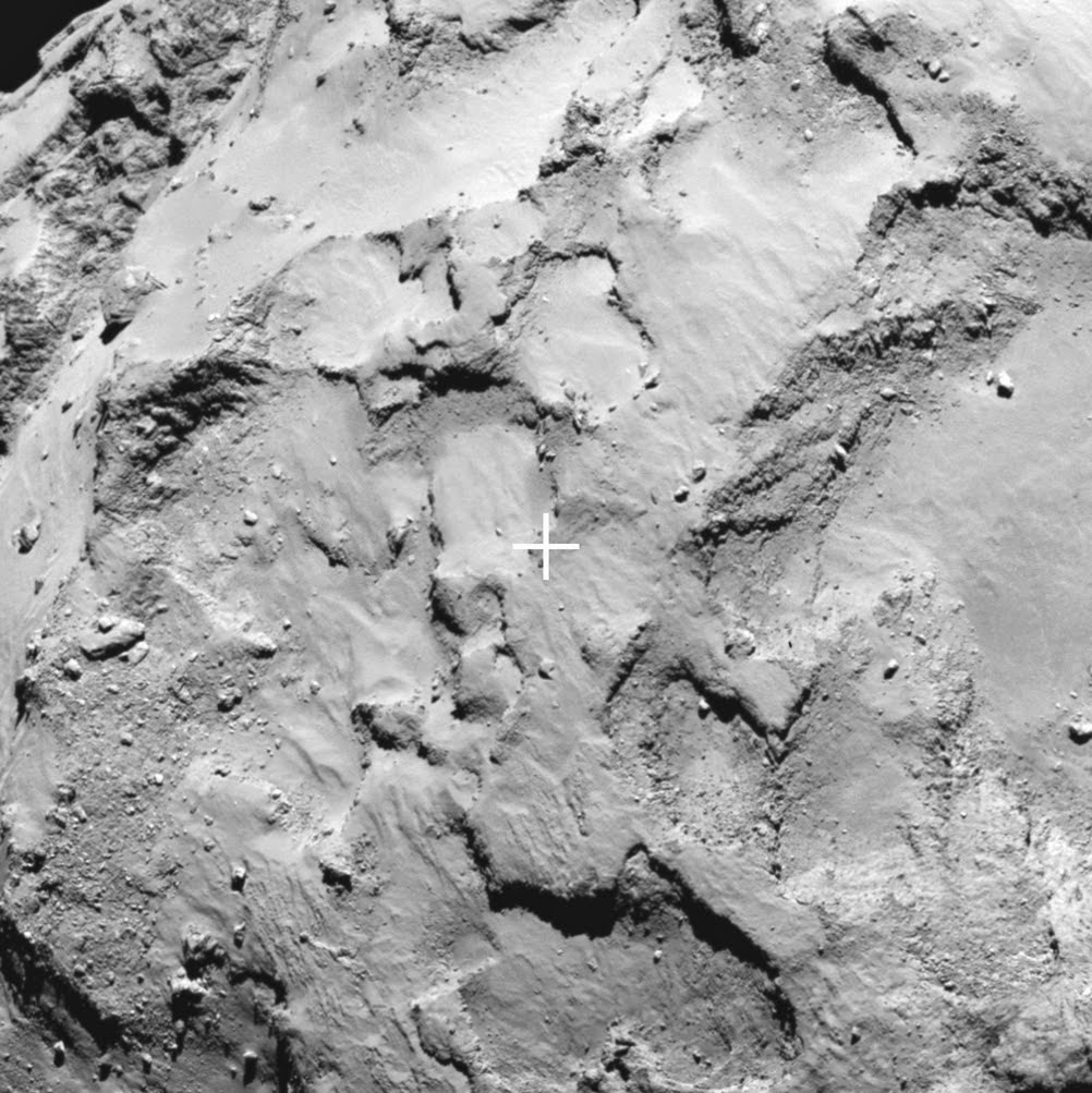 Close-up of Philae's primary landing site J, which is located on the 'head' of Comet 67P/Churyumov–Gerasimenko. The image was taken by Rosetta's OSIRIS narrow-angle camera on 20 August 2014 from a distance of about 67 km. The image scale is 1.2 metres/pixel. Credit: ESA/Rosetta/MPS for OSIRIS Team MPS/UPD/LAM/IAA/SSO/INTA/UPM/DASP/IDA