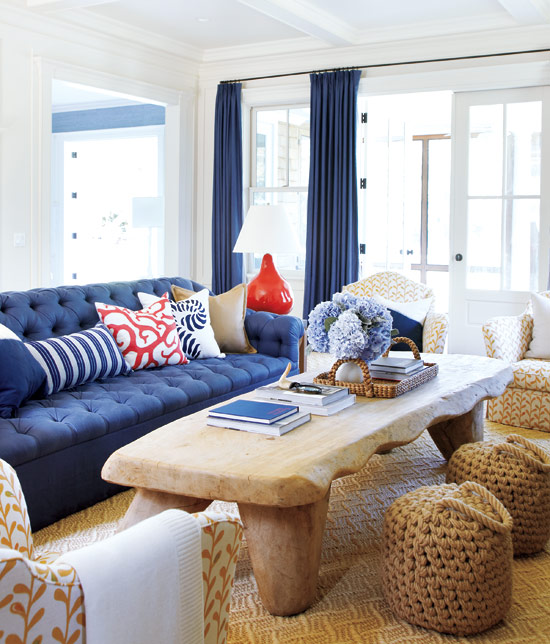 Seaside interiors blue and orange color combo - Blue and orange living room ...