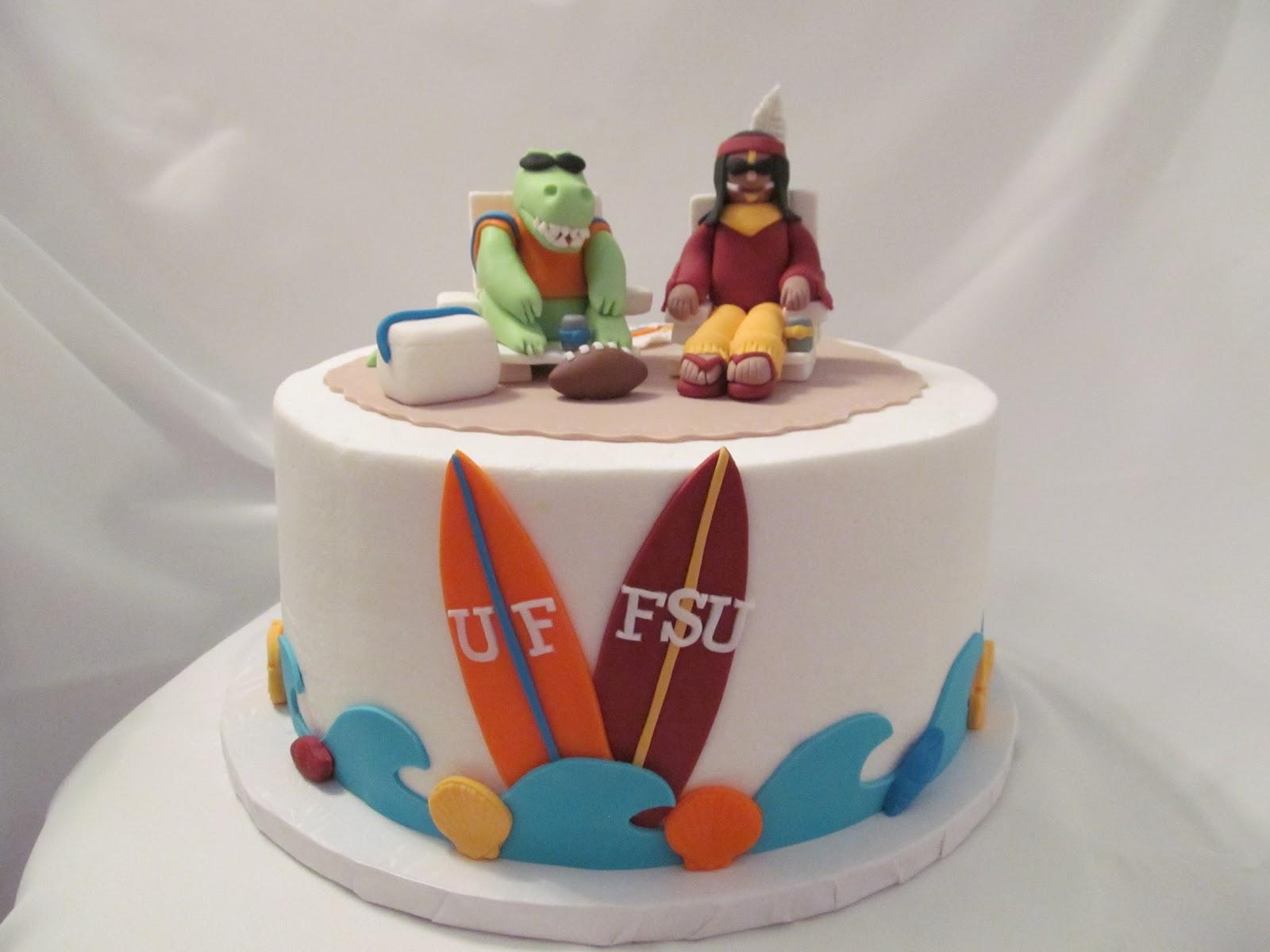 Love Sugar Kisses Gator Seminole Beach Party Cake