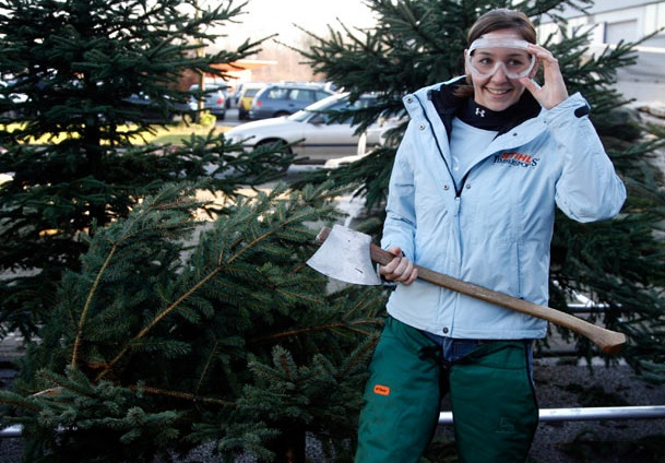 The most Christmas trees chopped in two minutes is 27 by Erin Lavoie (USA) achieved on the set of Guinness World Records in Germany, on 19 December 2008.