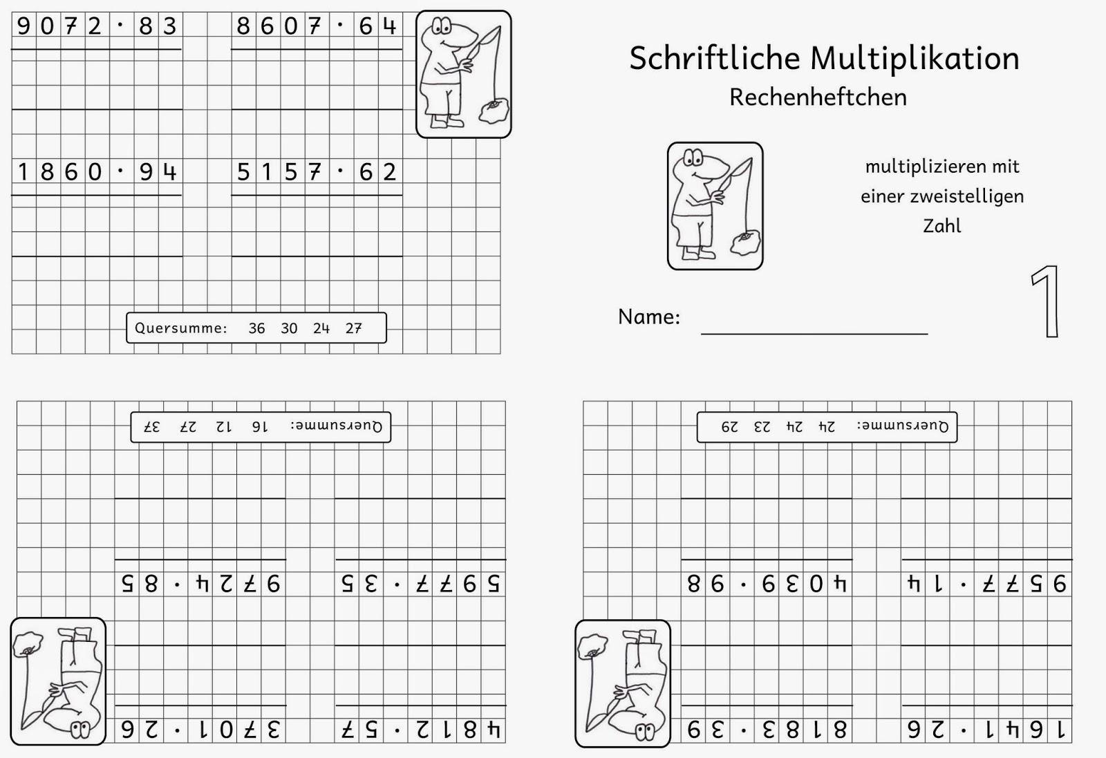 Lernstübchen: Rechenheftchen schriftliche Multiplikation (3)