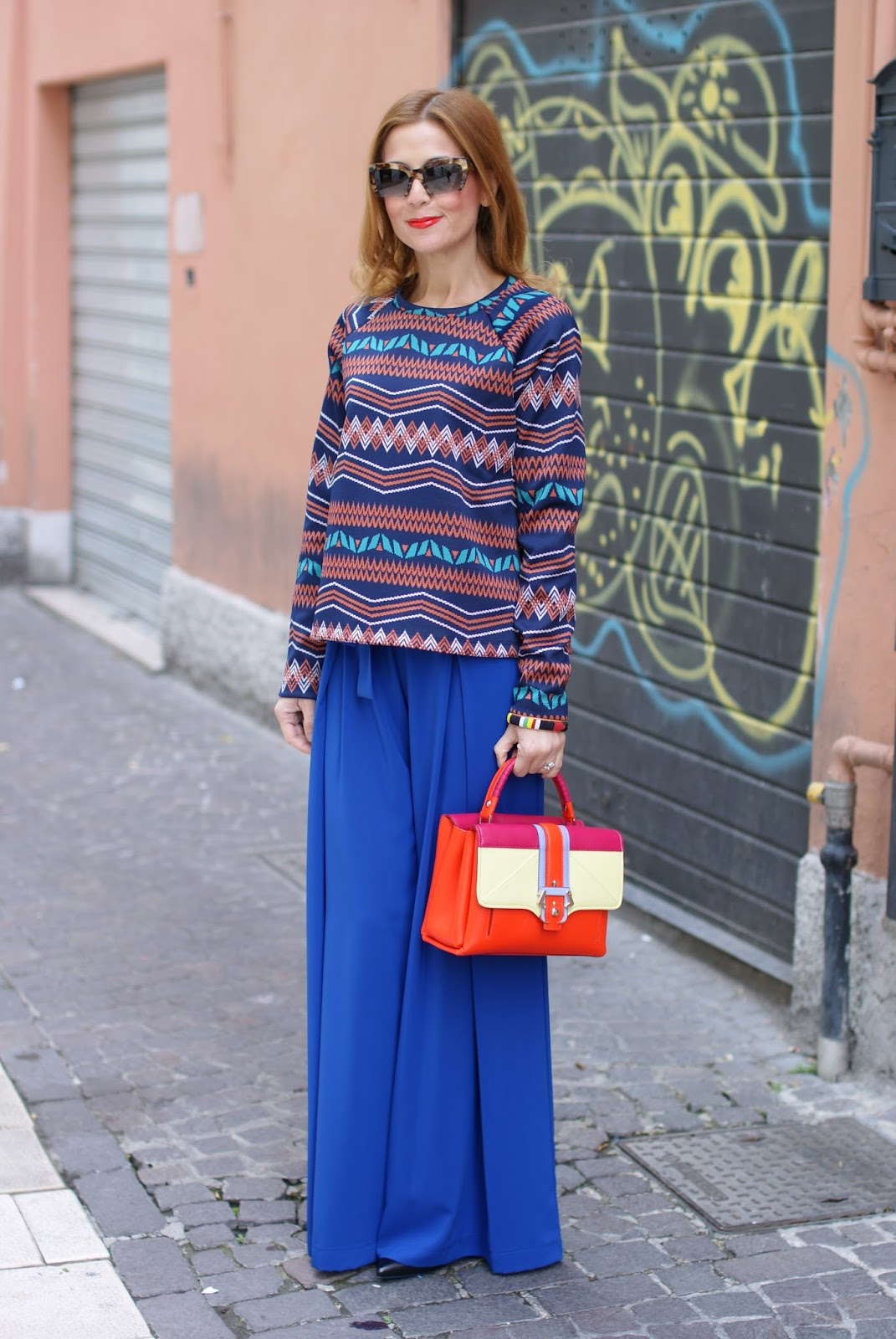 Petite Faye bag from Paula Cademartori and palazzo pants on Fashion and Cookies fashion blog, fashion blogger from Italy