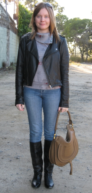 Black leather jacket and boots
