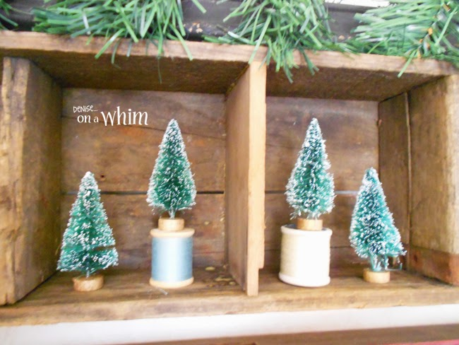 Bottle Brush Trees in Vintage Wooden Cubbies via Denise on a Whim