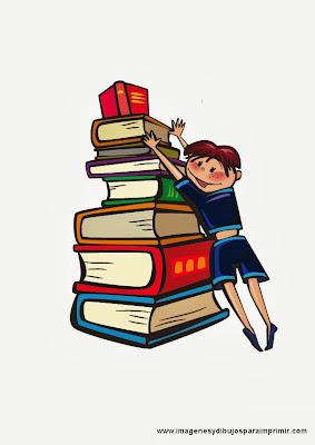 Niños con libros para imprimir