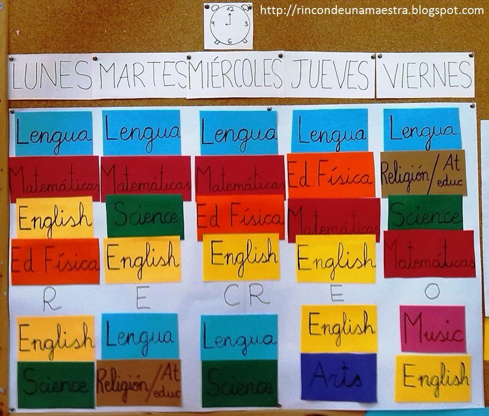 Rinc n de una maestra horario del aula for Decoracion aula primaria