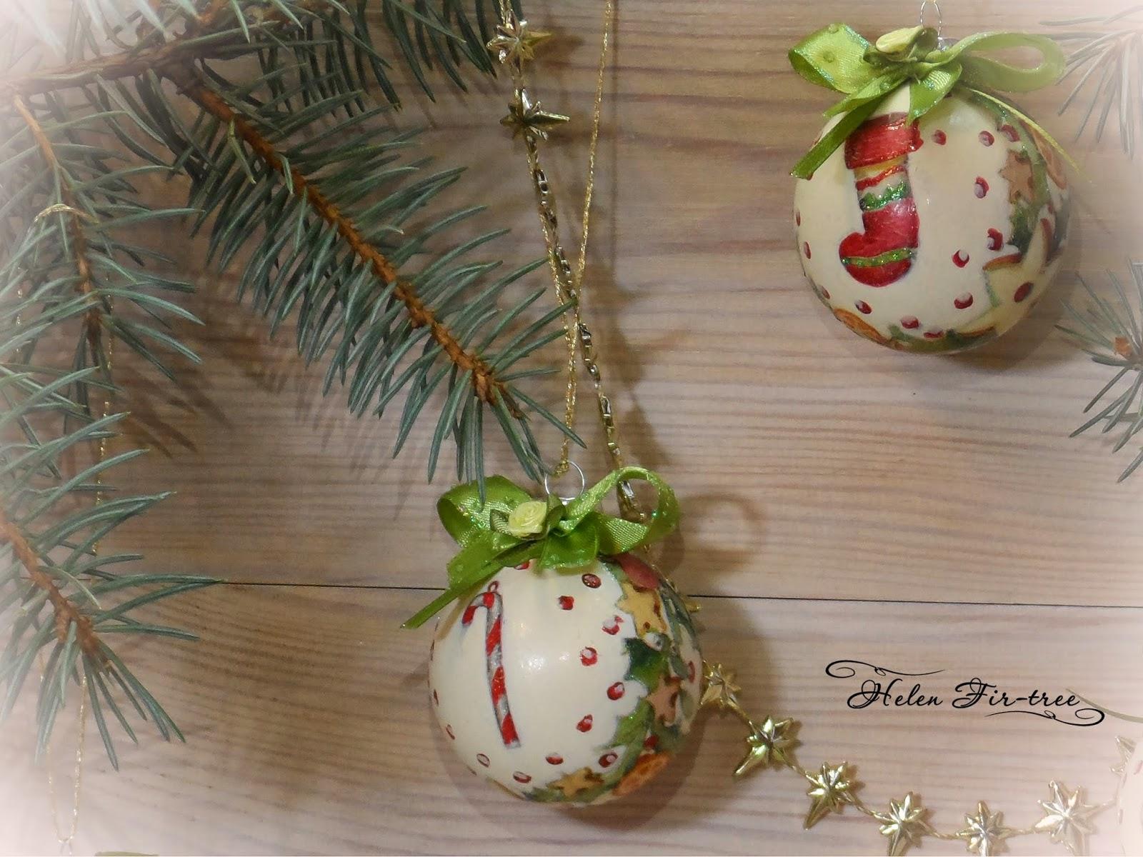 Helen Fir-tree декупаж ёлочные шары decoupage Christmas tree balls