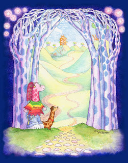 The Archway Portal to Planet Earth from Giraffe World in Camelopardalis Constellation with giraffe Necky Becky and her Neckshund dog Hals by UK Giraffe Artist  and Author Ingrid Sylvestre