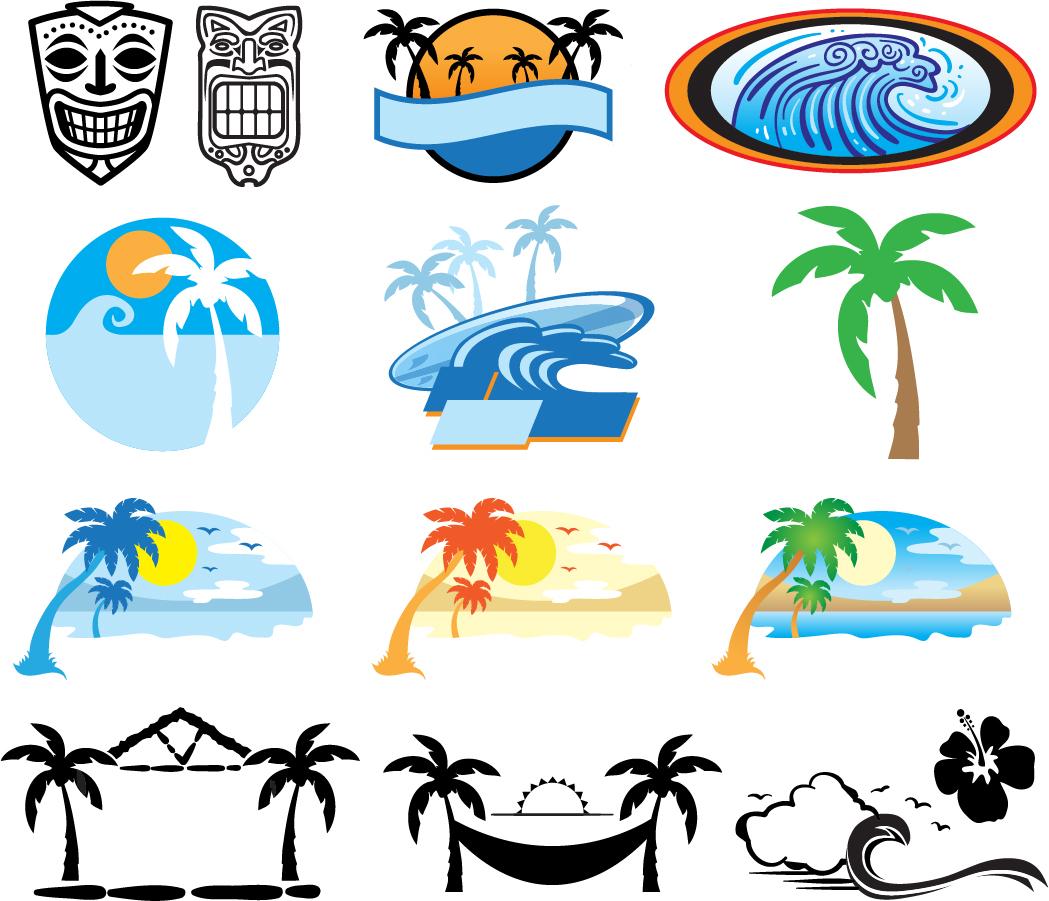 ハワイのビーチをイメージしたクリップアート Hawaii Beach イラスト素材