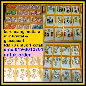 SET KERONSANG MUTIARA MIX KRISTAL SABAH