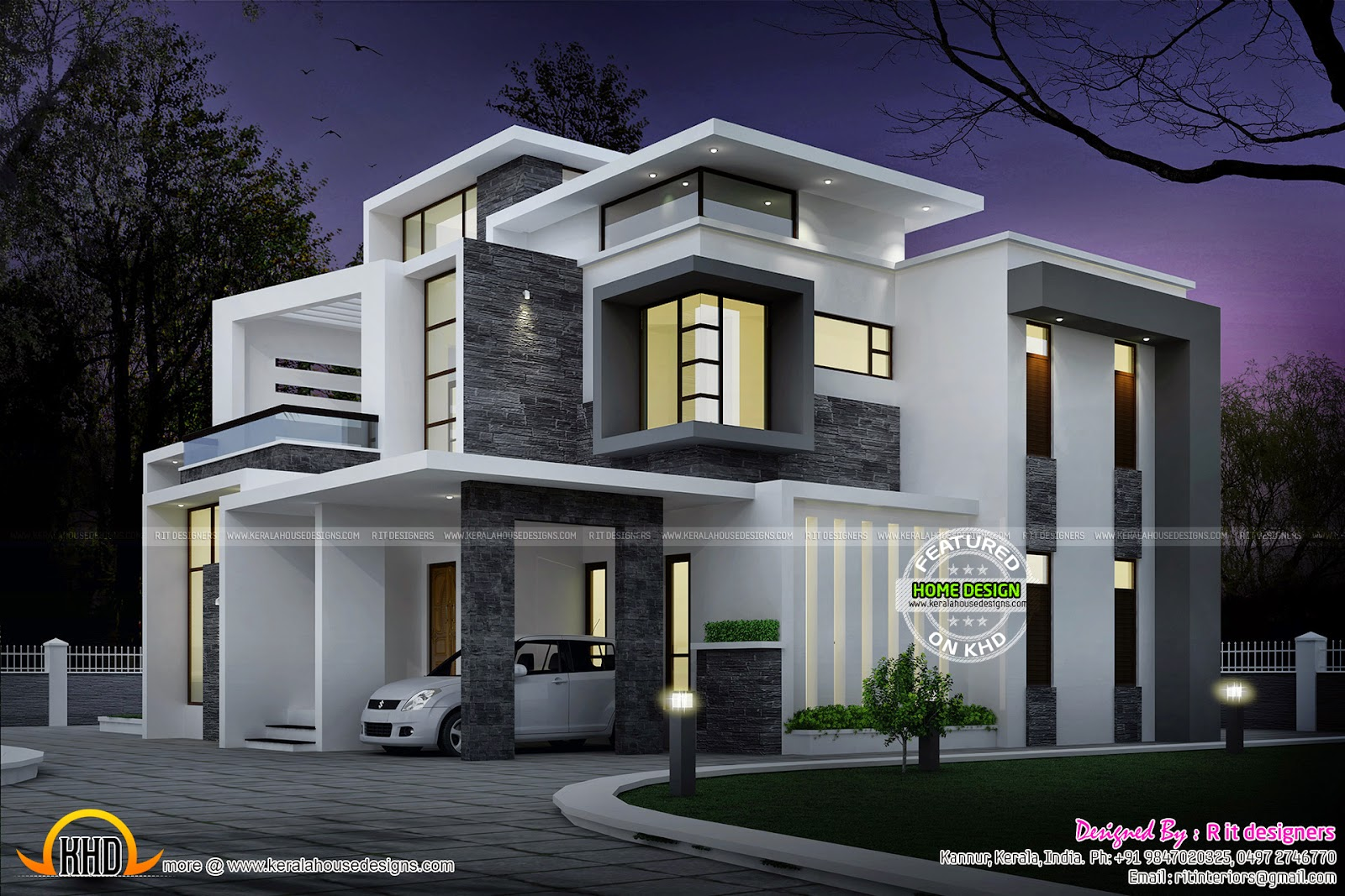 Side Elevation View Grand Contemporary Home Design Night View Of 3 Bedroo