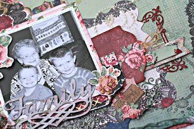 Family page featuring Love and Lace collection by BoBunny designed by Rhonda Van Ginkel Advanced Page from Pages Three Ways