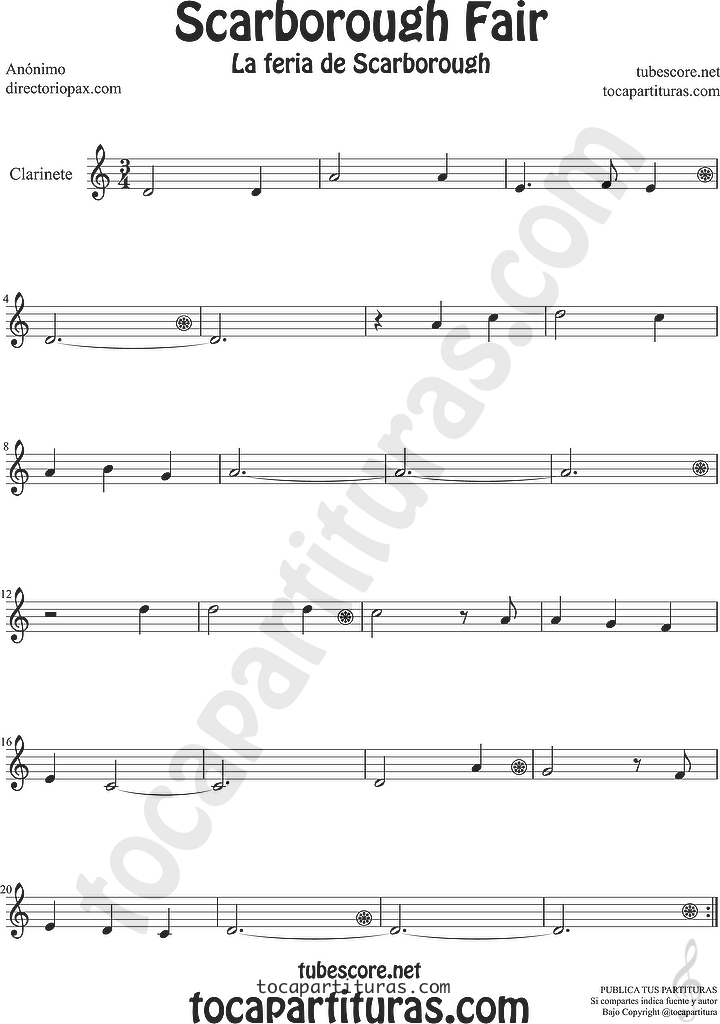 Partitura la feria de scarborough de Clarinete Sheet Music for Clarinet Music Score Scarborouh Fair