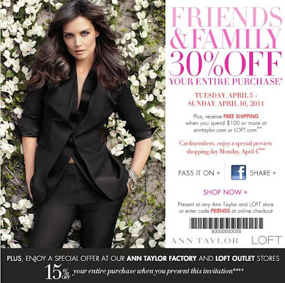 Ann Taylor Friends & Family 2011: 30% Off