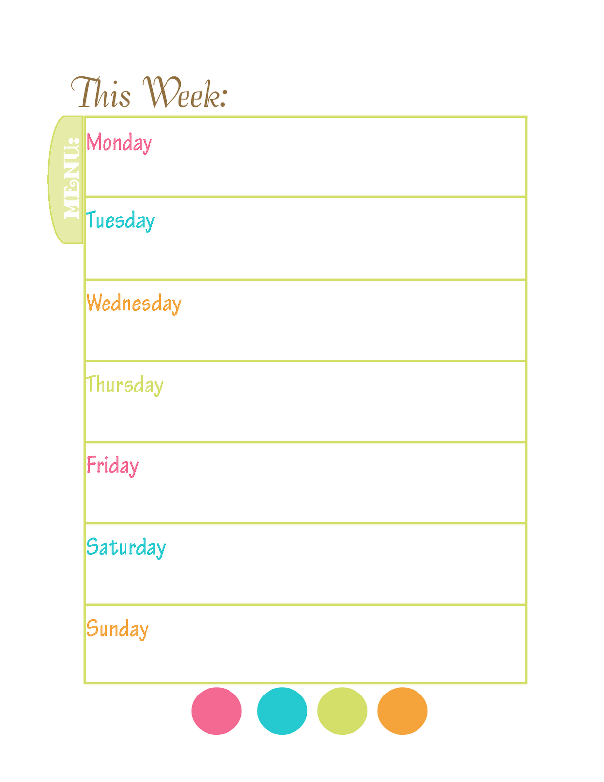 Printable Menu Pictures to Pin PinsDaddy – Free Weekly Menu Templates