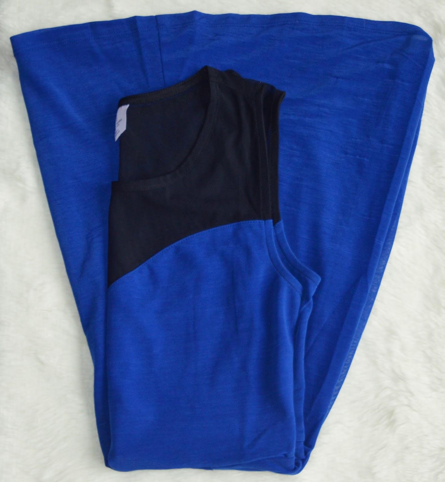 tokyo shopping haul H&M blue dress