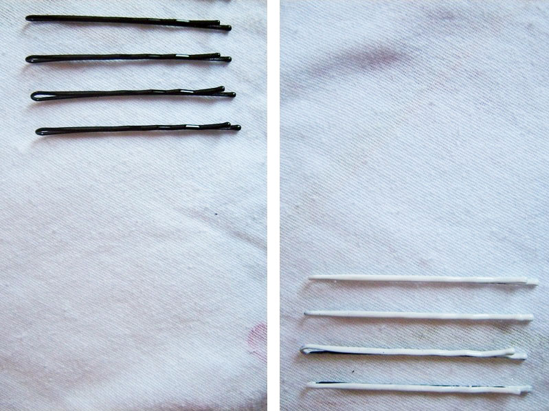diy bobby pins, diy white bobby pins, white bobby pins