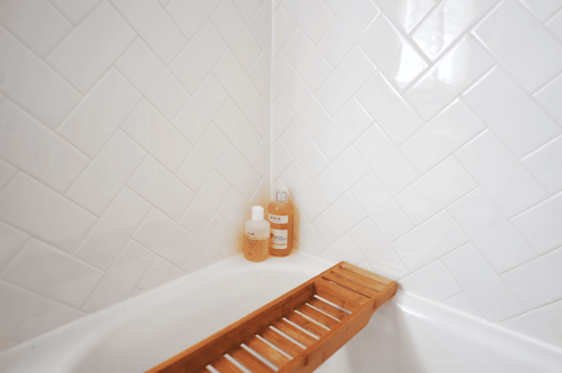 DIY Bathroom Herringbone Subway Tile