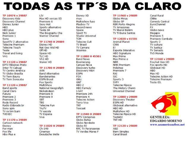CONFIRA A LISTA DE TPs DO STARONE C2 CLARO – 09/06/2012