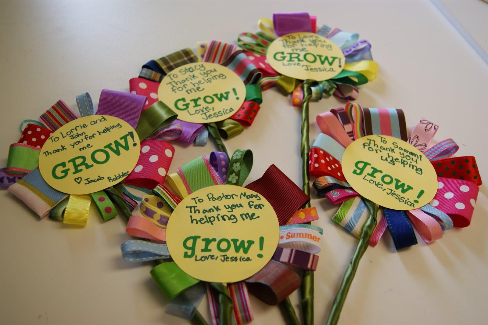 Michelle paige blogs teacher appreciation ribbon flowers for Thank you crafts for teachers
