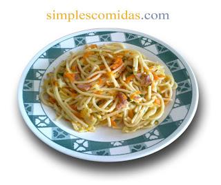 Receta Tallarines con Vegetales Salteados