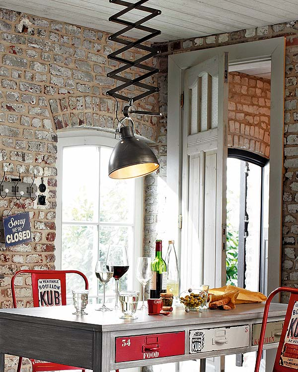 truly makes a design statement in this industrial style dining area