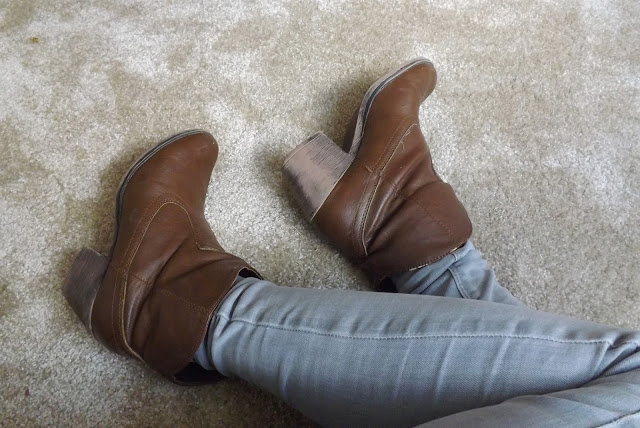 Grey Jeans Brown Boots