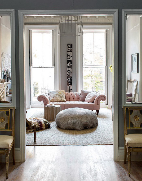 Eye for design decorating your interiors with pink and grey for Home decor color schemes grey