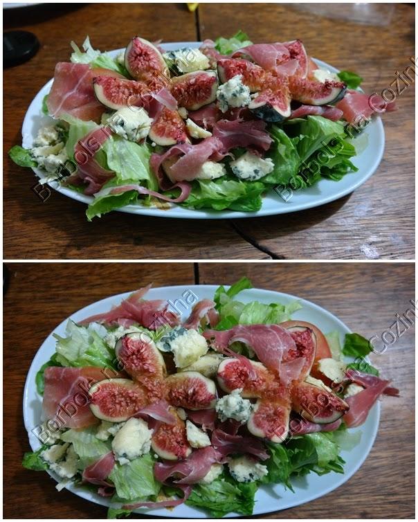 Salada com presunto cru, figo e gorgonzola low carb