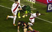 Leo Baptistao celebrá el segundo gol del Rayo