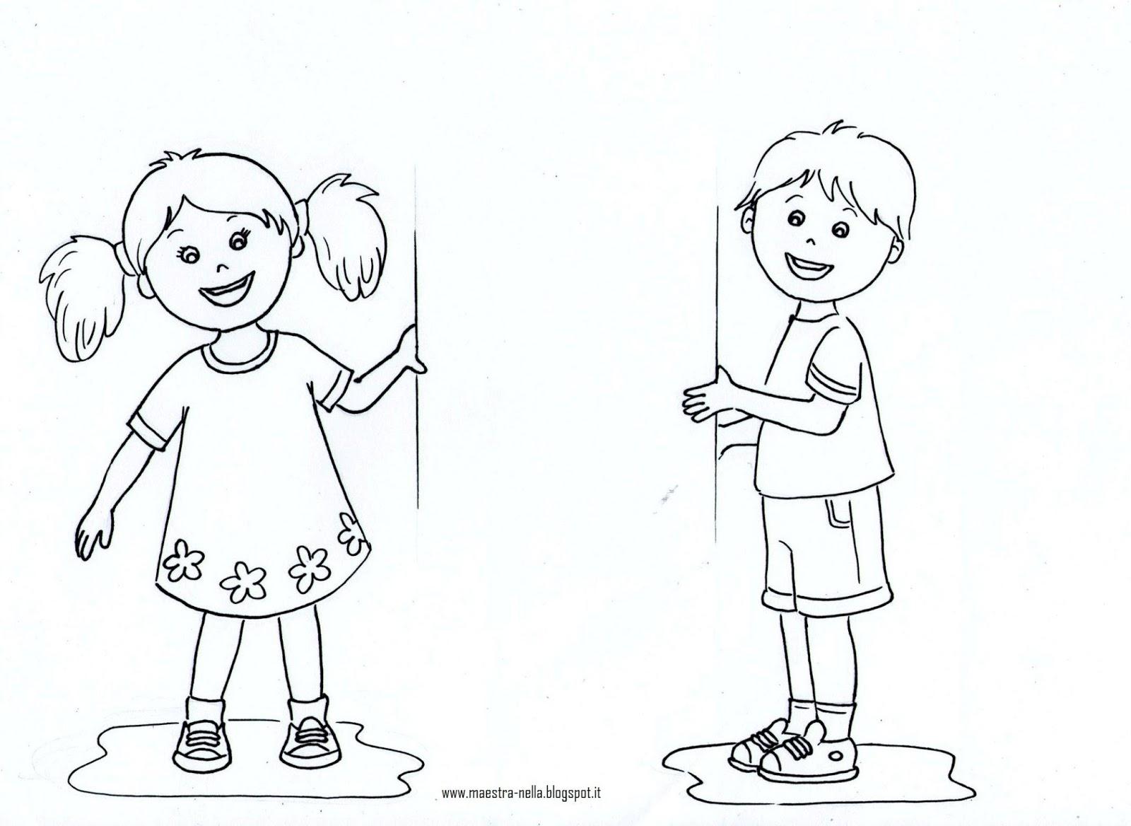 Maestra nella il cartellone degli avvisi for Disegno bambina da colorare