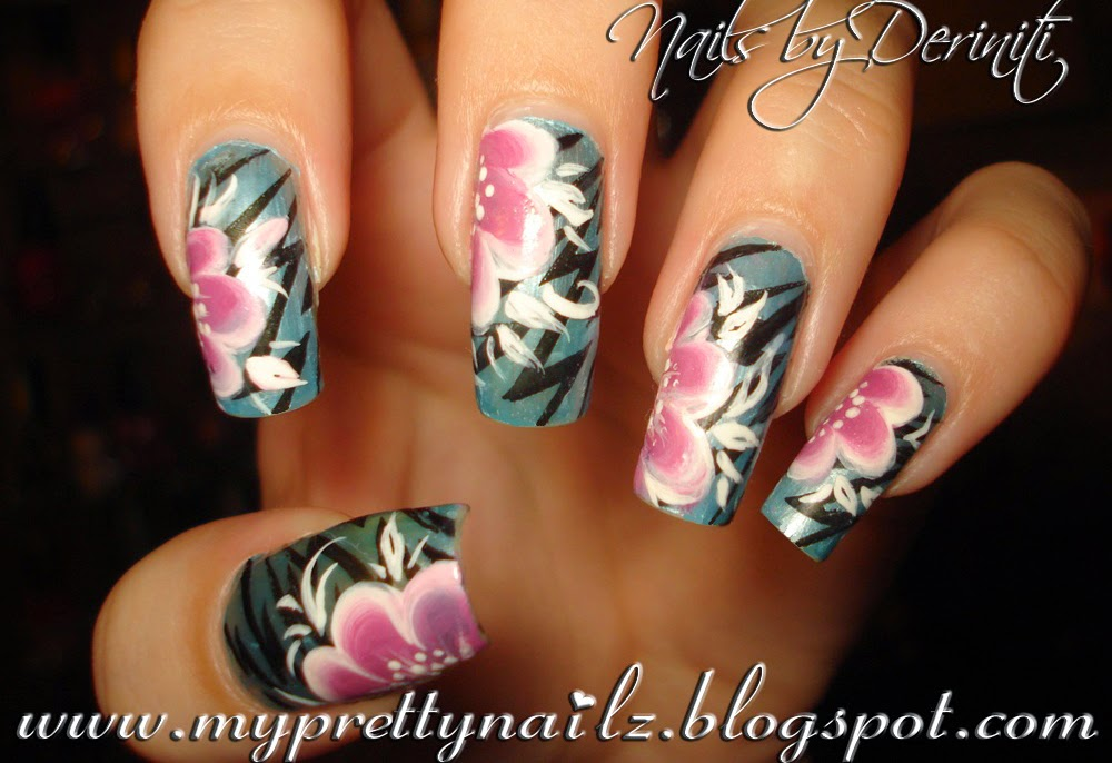 Electric Lightning Nails With Hand Painted One Stroke Flowers And Video Tutorial