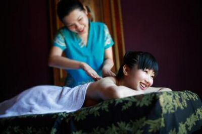 Having a rejuvenating massage at the gem island resort and spa