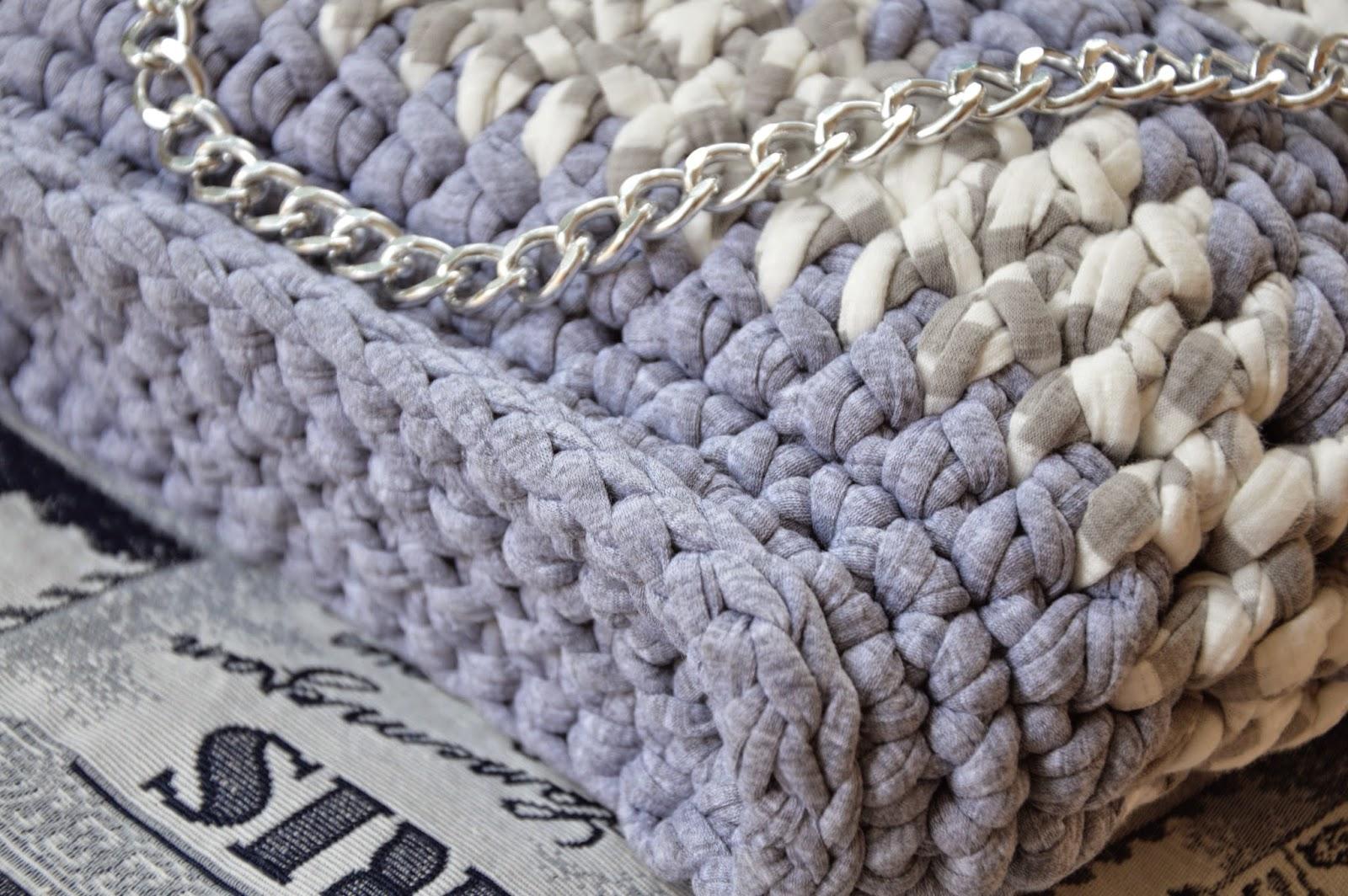 Borsa Caldo cotone grigio perla con inserti melange