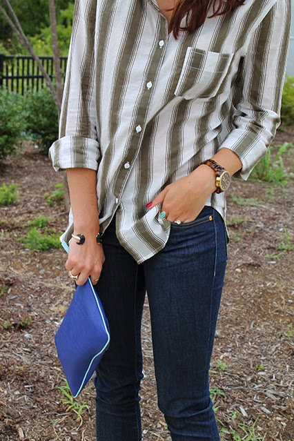 nordstrom rack style, fall button down, kate spade jeans, broome street denim, brown oxfords, miz mooz oxfords, marc jacobs dog clutch, dkny sunglasses, kendra scott rings, kendra scoot half moon bracelet