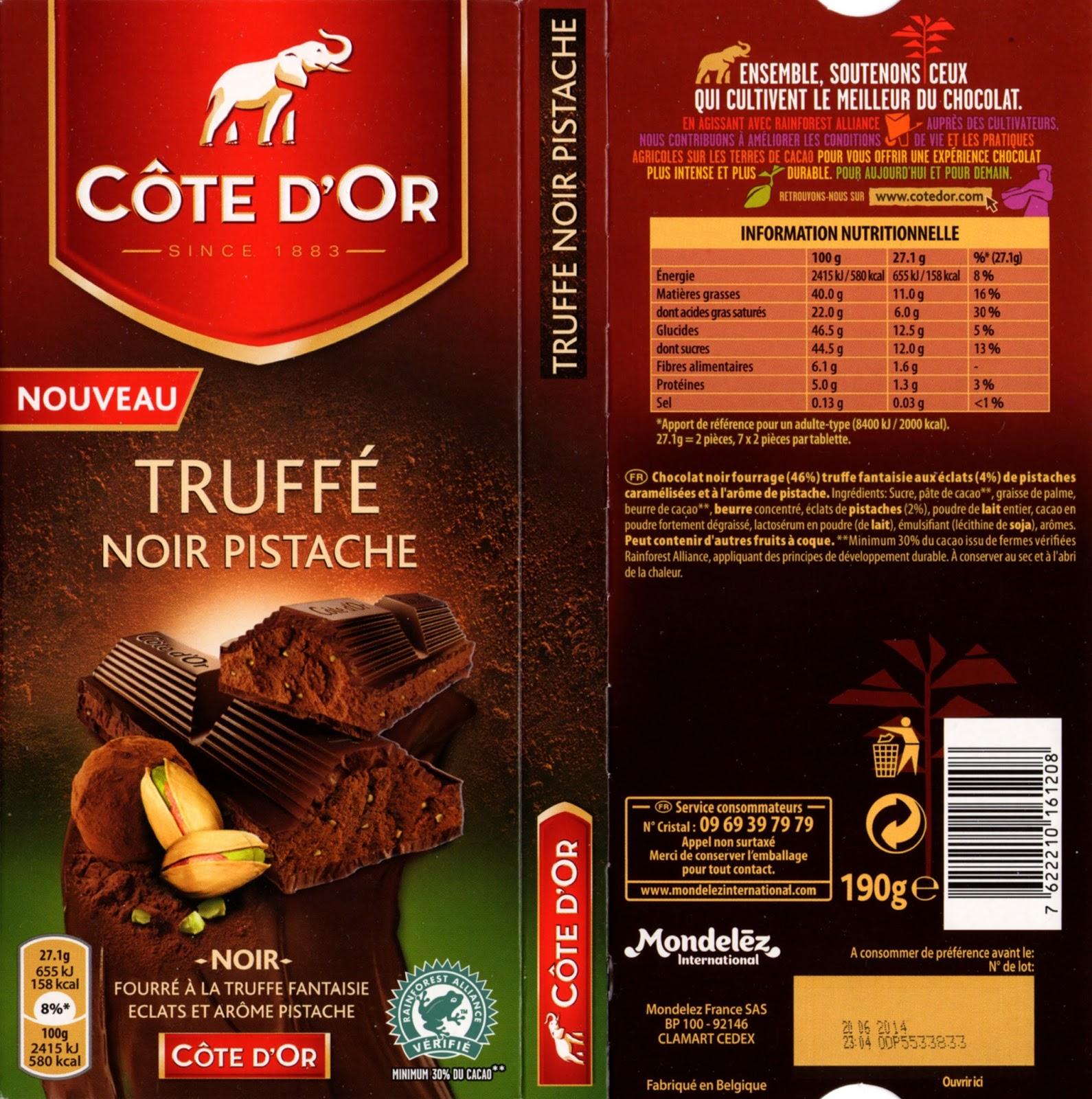 tablette de chocolat noir fourré côte d'or truffé noir pistache