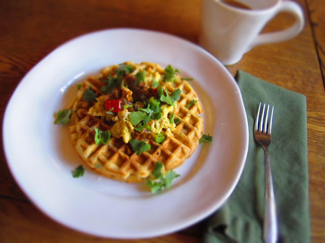 ... Cornmeal and Chive Waffles (With Eggs and Salsa