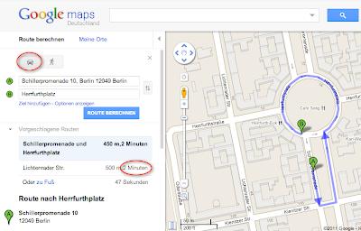 Google Maps Routenberechnung
