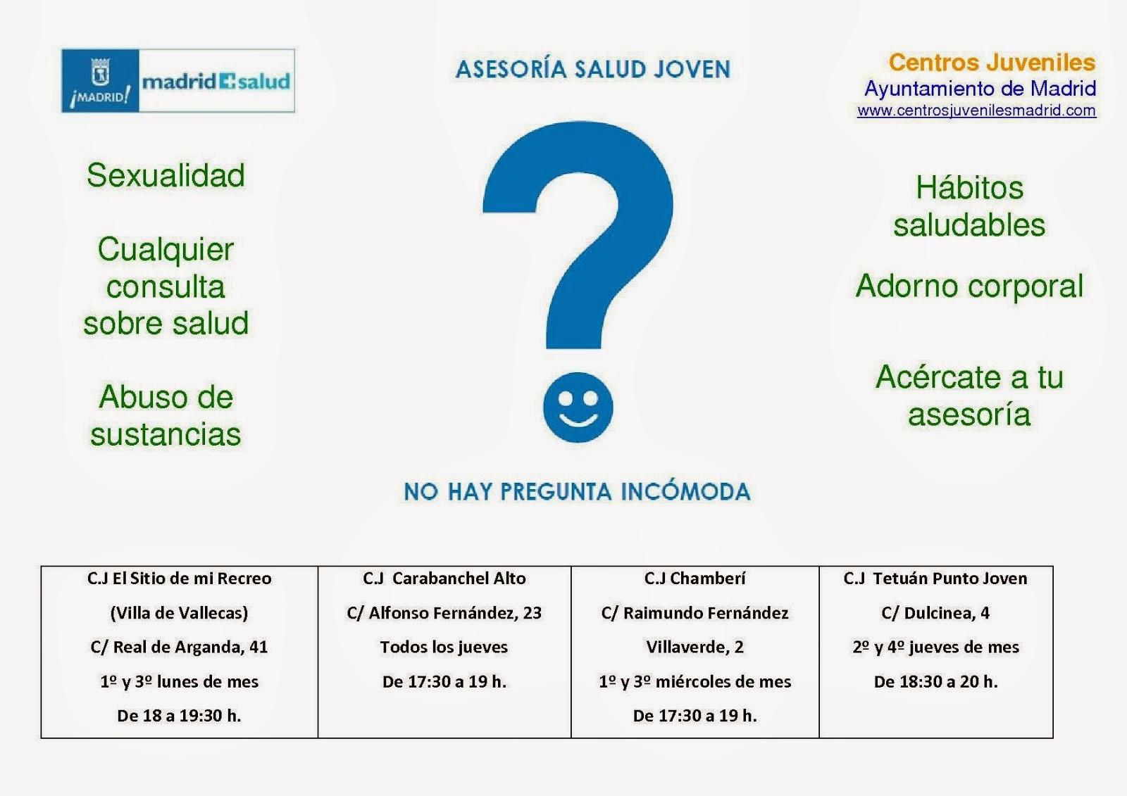 Asesorías de Salud Joven en los Centros Juveniles del Ayuntamiento de Madrid