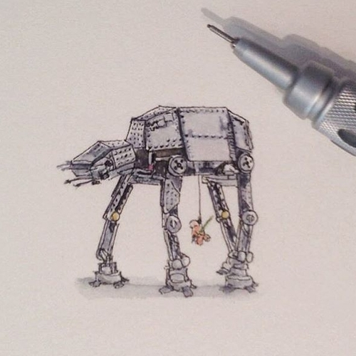 05-Atat-Karen-Libecap-Star-Wars-&-other-Miniature-Paintings-and-drawings-www-designstack-co