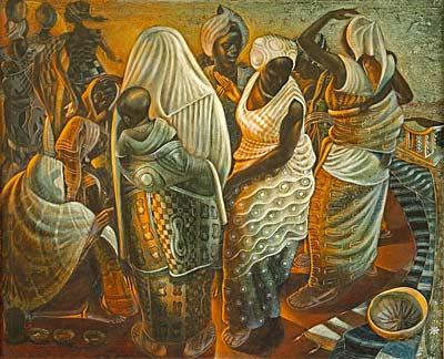 Little art poems market women ghana 1960 john biggers for African mural painting
