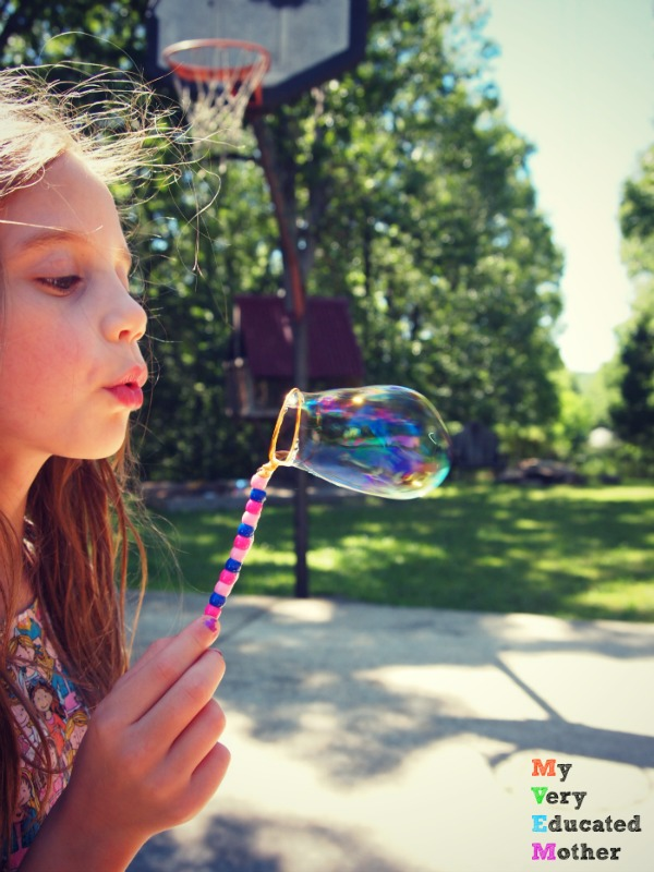 Playing with bubbles and our own wands.