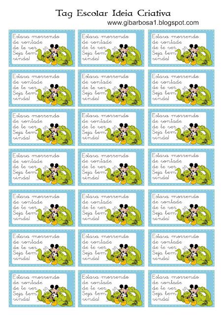 Tags Escolares Mickey e Minnie/ Lembrancinha Volta às Aulas