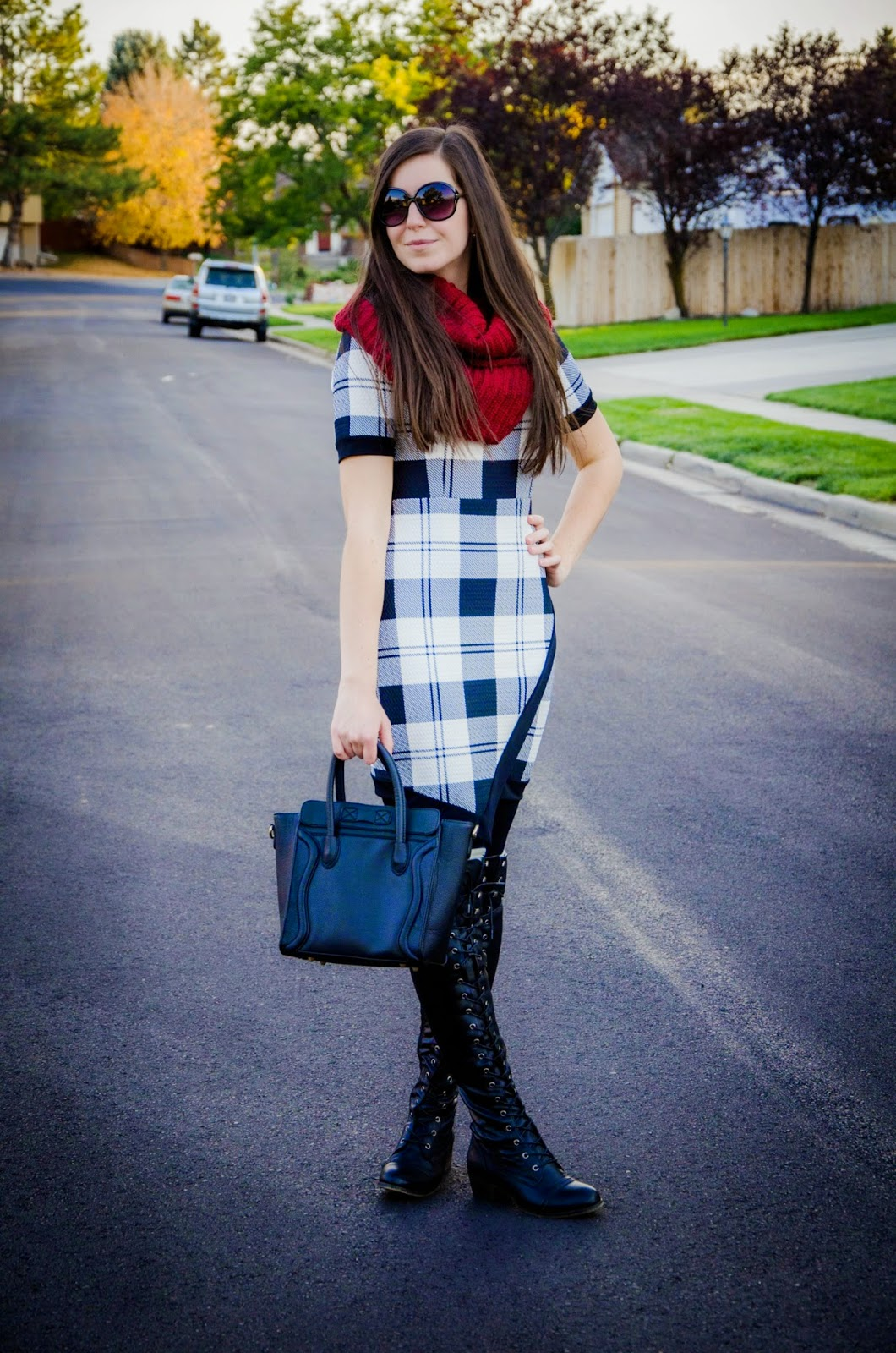 plaid dress, colors of aurora, amiclubwear, lace up riding boots, faux leather lace up riding boots, military style boots, boots, burgundy scarf, boot socks, pretty, over the knee riding boots, black over the knee riding boots, lolashoetique boots, daily look boots,
