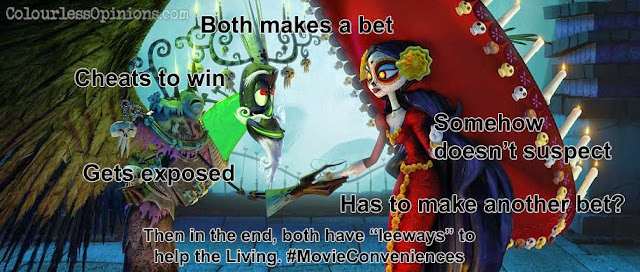 Book of Life movie still meme La Muerte and Xibalba handshake bet deal