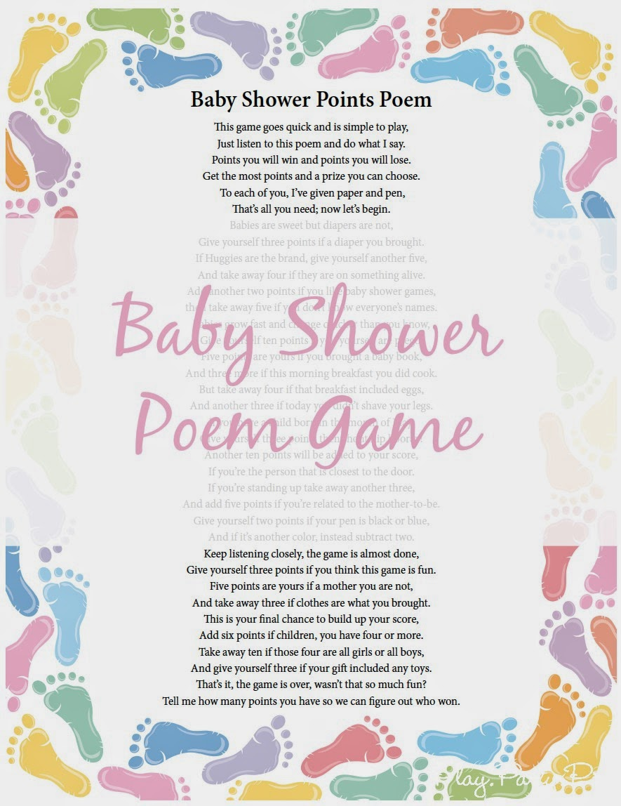 baby shower poems from baby baby shower poem points game